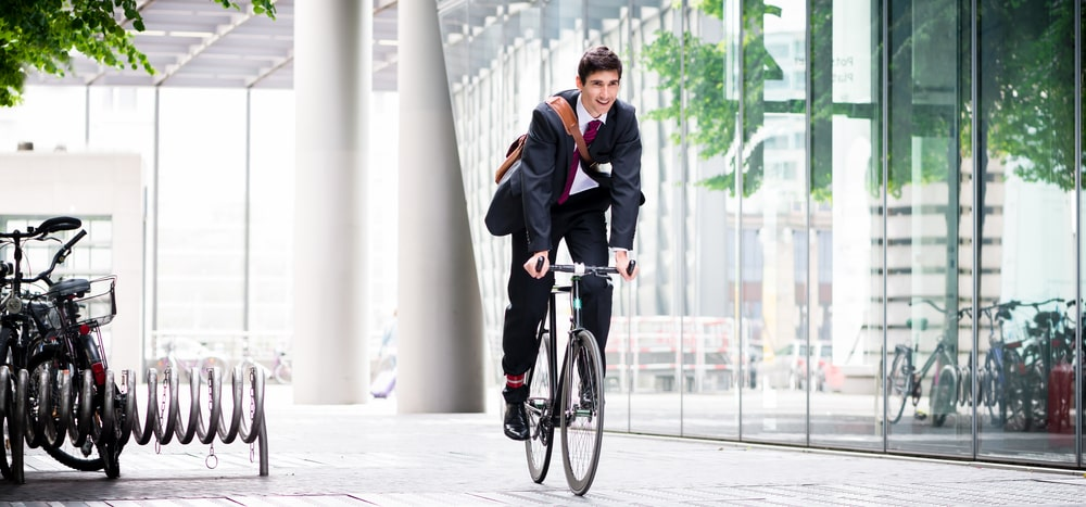 businessman on bicycle in Europe