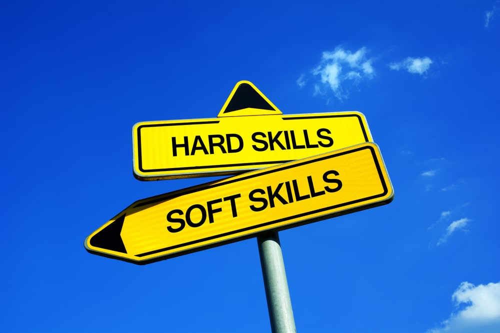 Hard skills vs soft skills roadsign