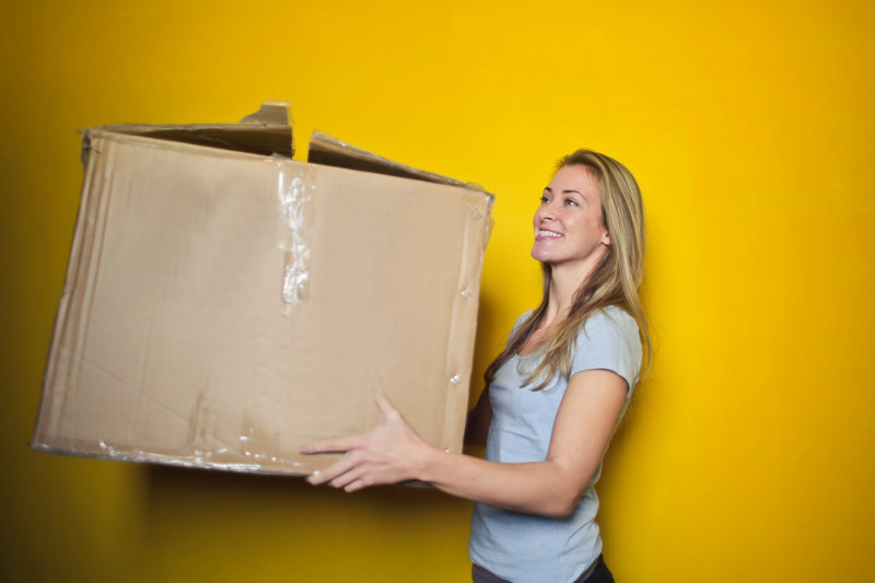 woman moving material