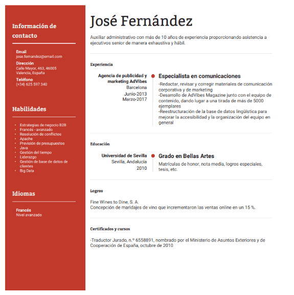 Example of spanish resume